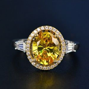 Other - Oval Canary Yellow Diamond CZ Halo Dinner Ring